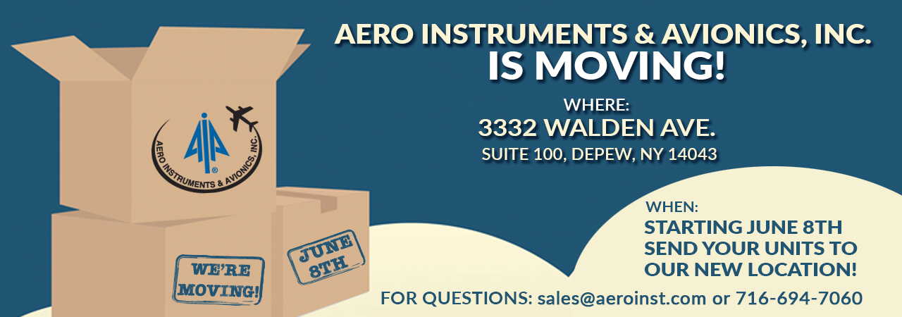 Aero Instruments Moving boxes. Moving announcement to new building 3332 Walden Ave. Suite 100 Depew, NY 14043